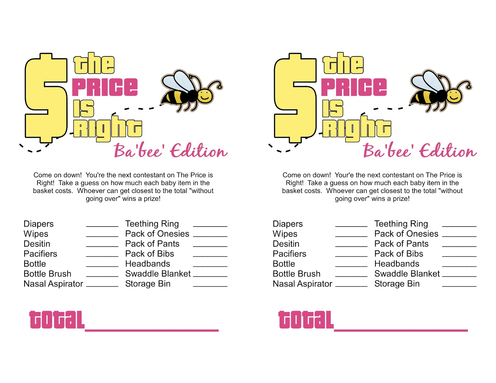 Sassy sanctuary ba 39 bee 39 shower week the games free for Price is right bridal shower game template