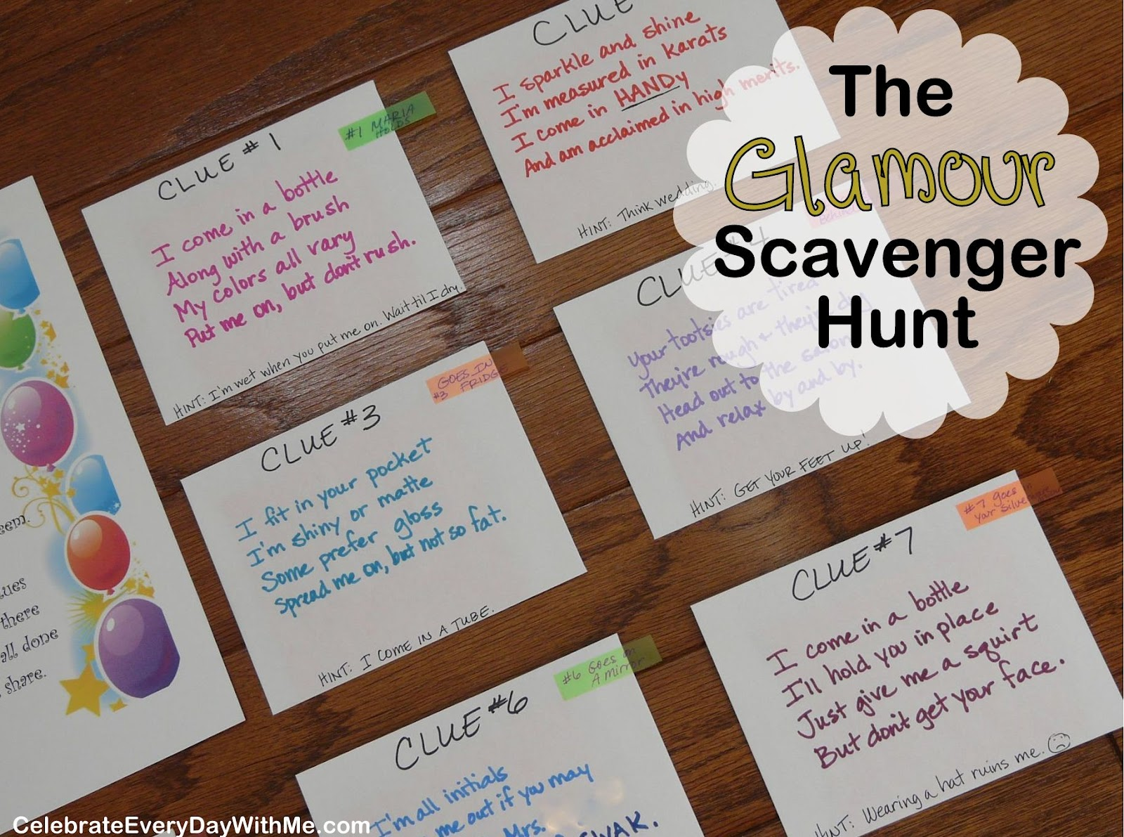The Quot Glamour Party Quot Scavenger Hunt Celebrate Every Day