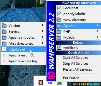 Wamp Server Could not execute menu item