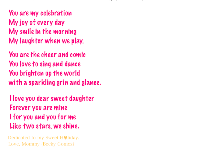 My Dear Sweet Darling Daughter - A Poem