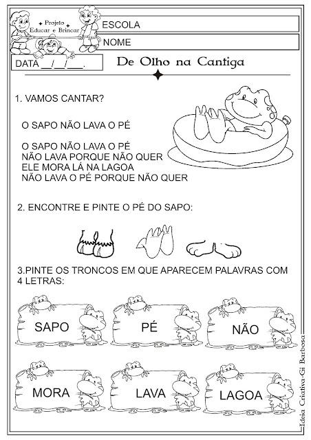 Atividade Cantiga popular O Sapo não Lava o Pé!