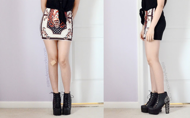 For an edgy party look, pair a skirt like Dresslink's baroque palace-print skirt with spiked platform booties.