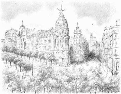 Vista de Madrid, dibujo de Henry Grob