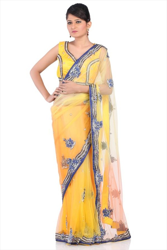 Flame Orange Net Saree