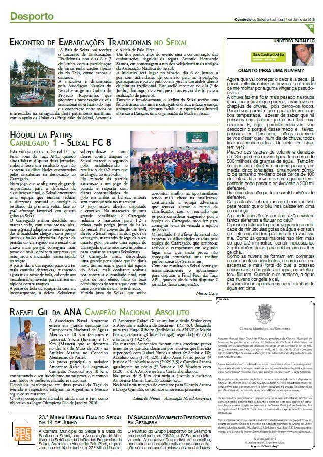 JORNAL COMÉRCIO SEIXAL e SESIMBRA nº 285 de 04 Junho de 2015