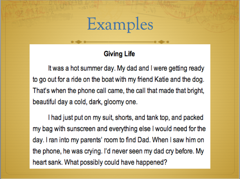narrative essay examples for kids Essays examples of short stories here are many examples of short stories for you to read online online has become another leg in our life we have to take that into account so that we will go along the growth of the science and technology computer has revolutionalised our world the people have started to see another world.