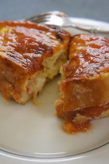 Mascarpone Rhubarb Stuffed French Toast: Savory Sweet and Satisfying