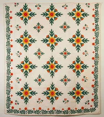 New York State Quilt with Oak Leaf & Florals by Julie Ann Smith