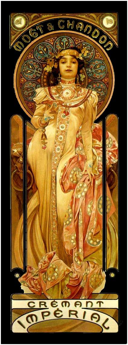 Illustration inspiration alphonse mucha for Miroir art nouveau