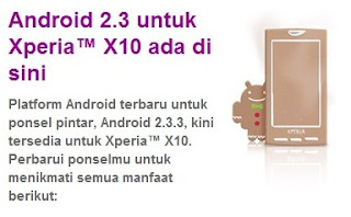 Update Android Gingerbread untuk Xperia X10