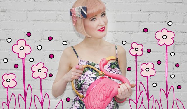 collectif clothing, flamingo bag, pastel hair, vintage outfit