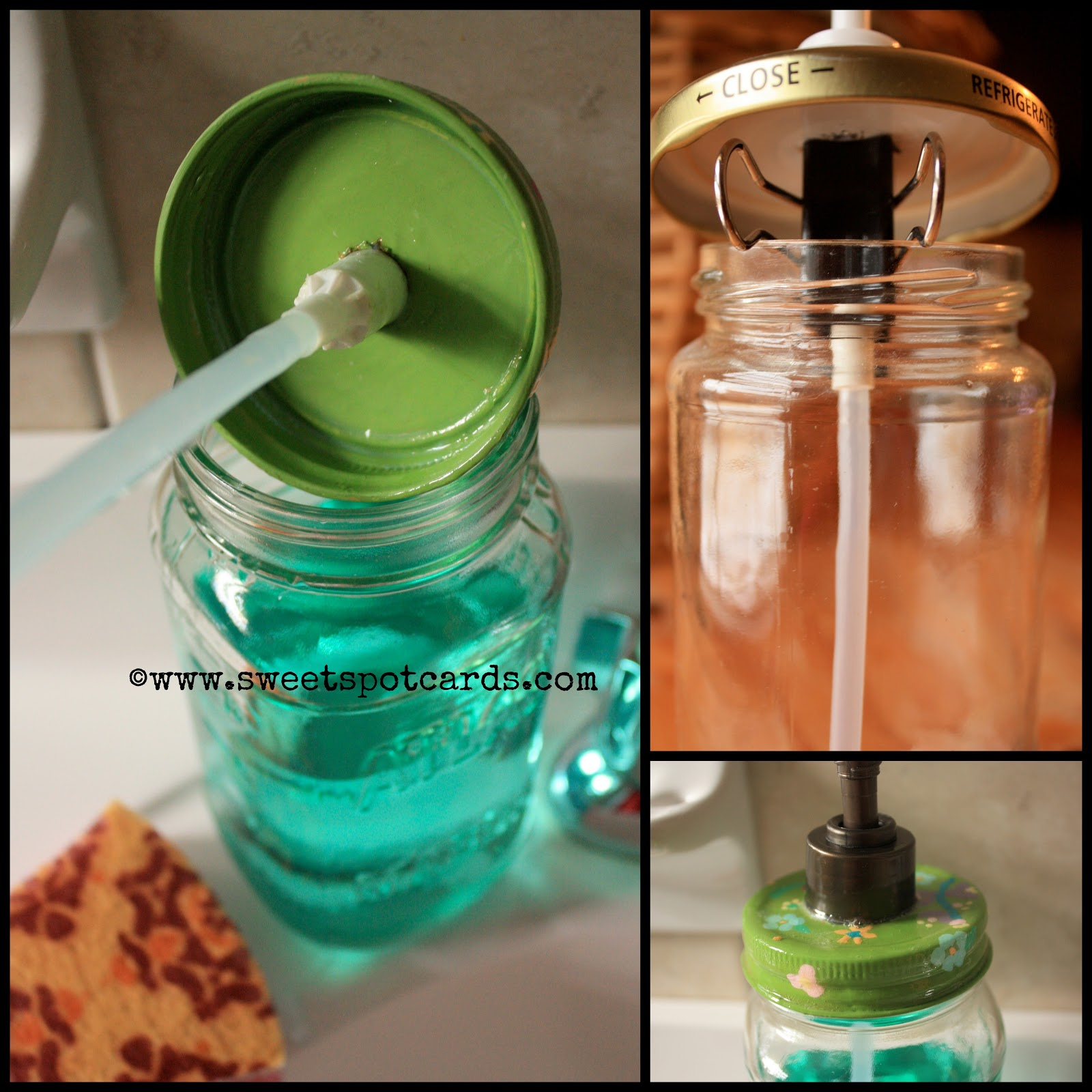 Cork Pump for Soap Dispenser http://www.sweetspotcards.com/2013/02/diy-mason-jar-soap-dispenser.html