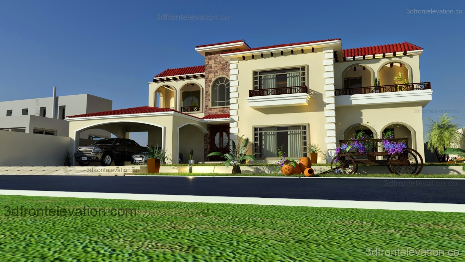 3d front beautiful mediterranean house for 3d elevation house plan