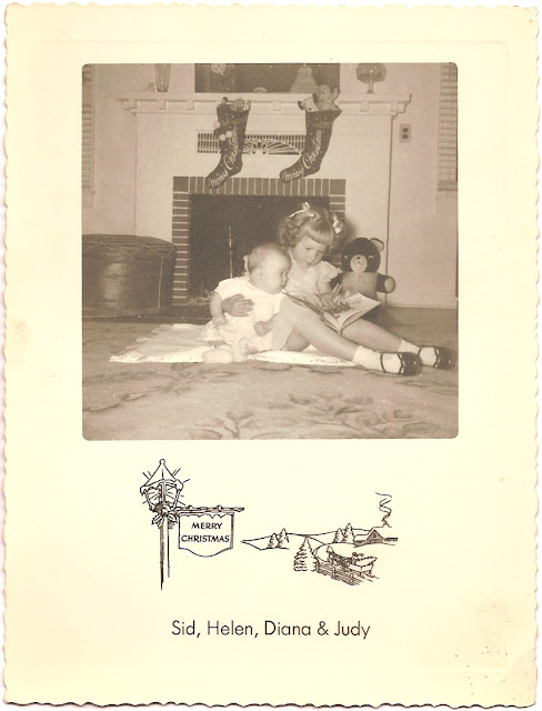 Christmas card photograph Sid Helen Diana Judy children