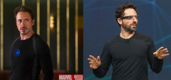 Sergey Brin on the stage in his Google Glasses with Ironman  Tony Stark