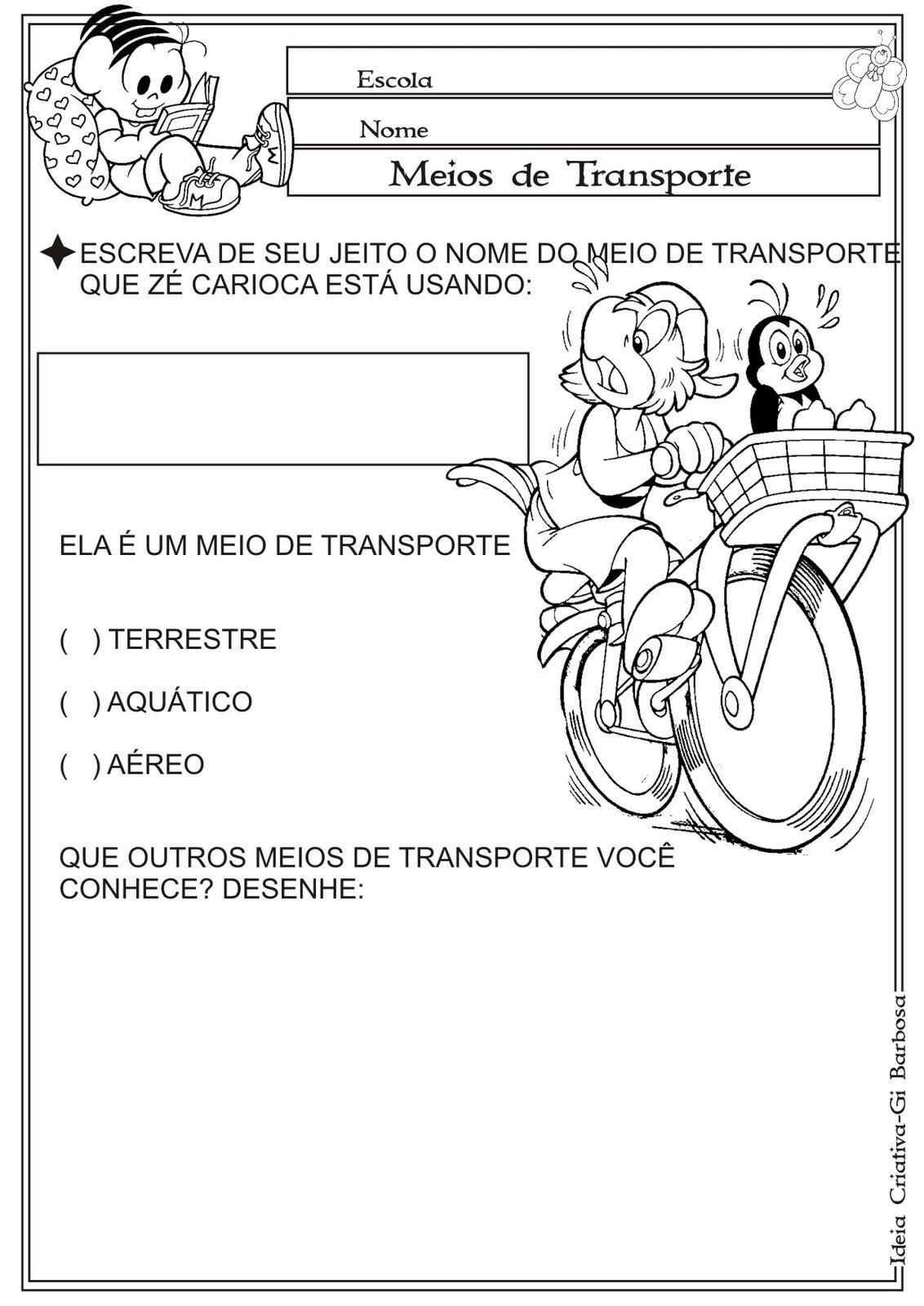 Muitas vezes Atividade Meios de Transporte | Ideia Criativa - Gi Barbosa  RH12