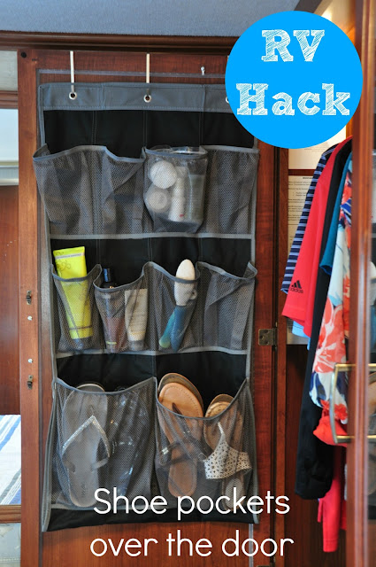 RV Hack -use vertical space on back of closet doors with shoe organizer ::OrganizingMadeFun.com