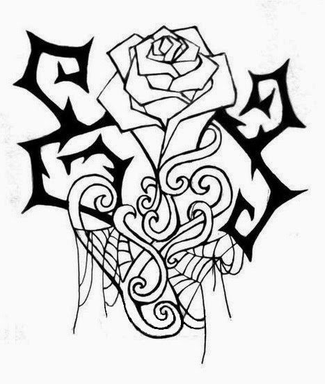Rose and web tattoo stencil