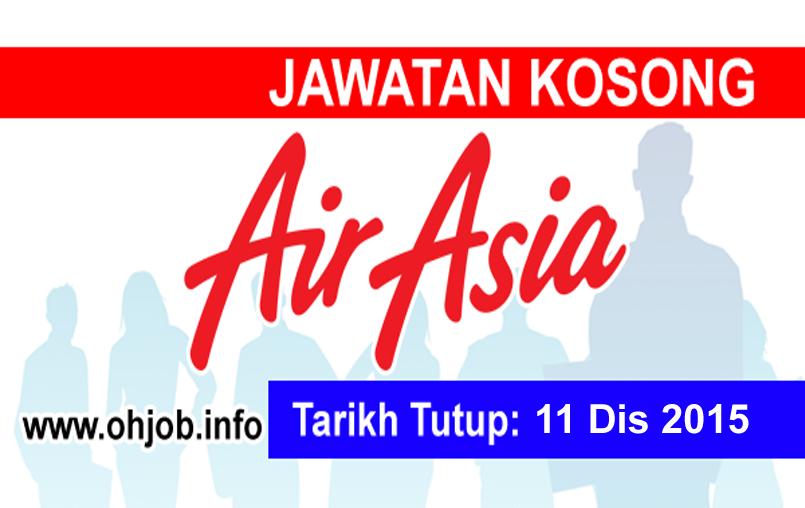 Jawatan Kerja Kosong AirAsia Berhad logo www.ohjob.info disember 2015