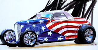 American Muscle Car Challenge Red White and Blue hot rod