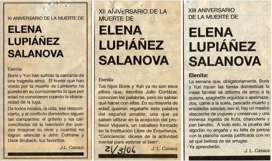 Undécimo, duodécimo y decimotercer aniversario de la muerte de Elenita, El País, esquela, José Luis Casaus, Boris, Yuri