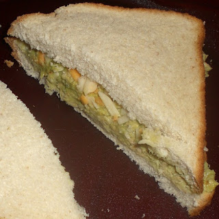 Tuna salad sandwich made with Wholly Guacamole.