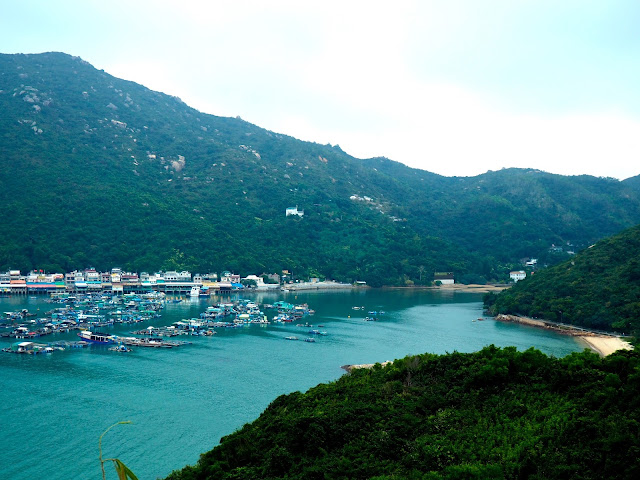 View of Sok Kwu Wan village and harbour from the Family Trail walk, Lamma Island, Hong Kong