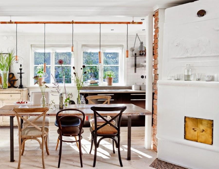 wystrój wnętrz, wnętrza, dom, mieszkanie, aranżacja, home decor, białe wnętrza, vintage, styl skandynawski, jadalnia, strół, krzesła, kuchnia