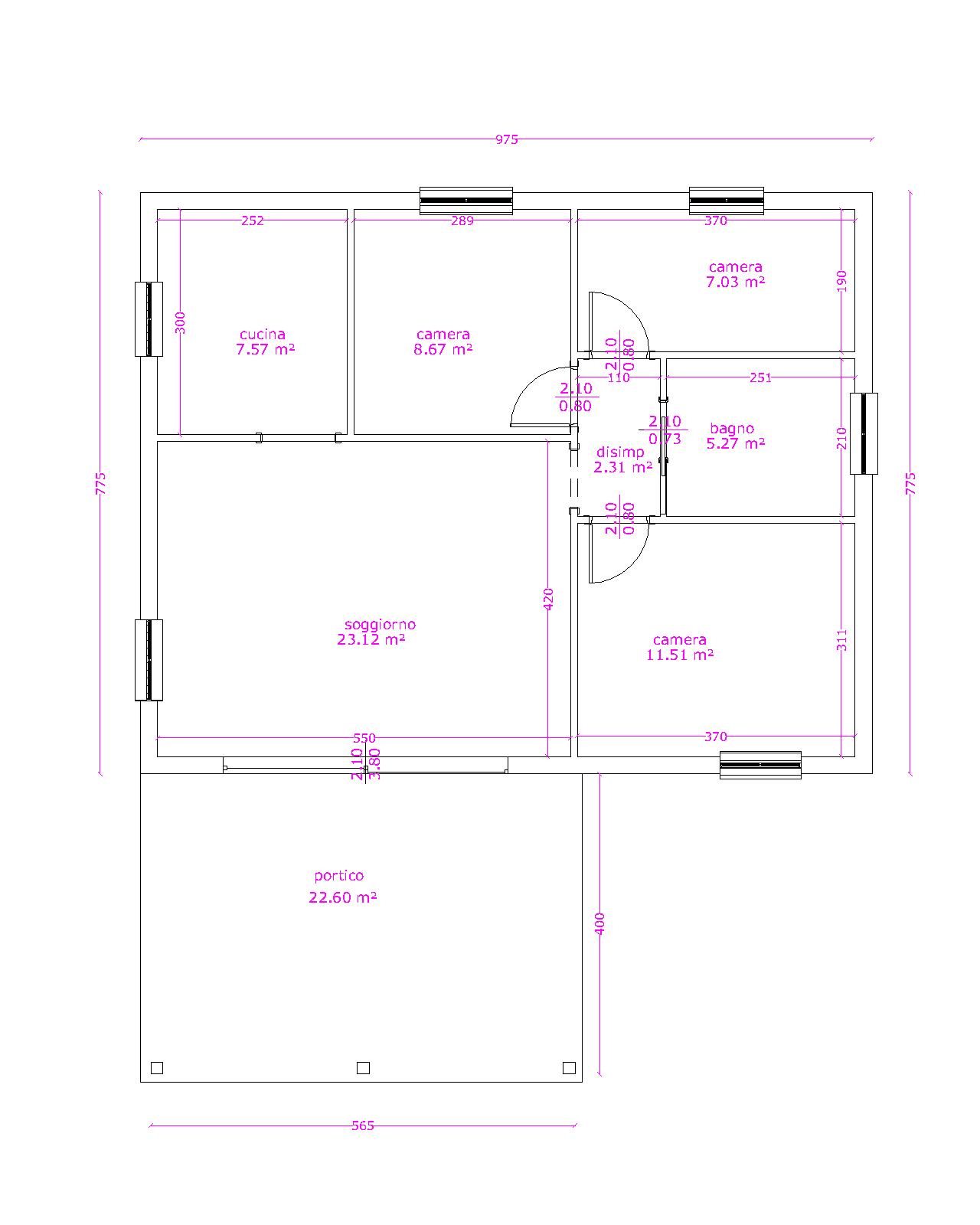 Progetti di case in legno casa blockhaus 76 mq portico for Progetti di portico anteriore