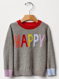 V. I. BUY: HAPPY Sweater £19.95 Gap Kids