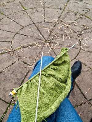 knitting green cardigan