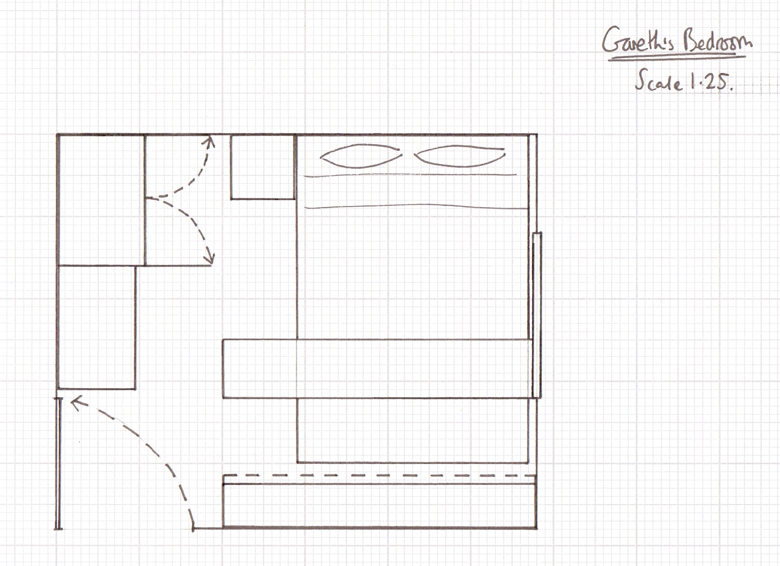 Scale bedroom drawing for Blueprint scale