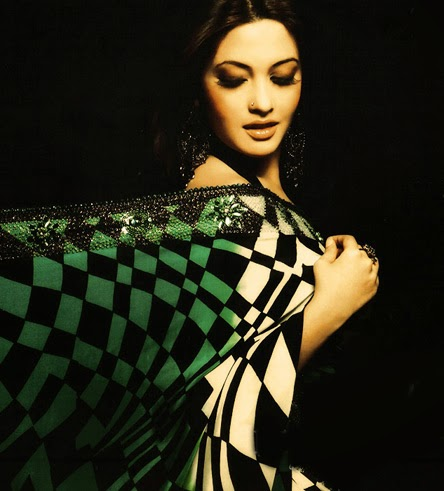 Riya Sen hot sexy bollywood actress (diva) exposing her hot figure in black-white chechked saree