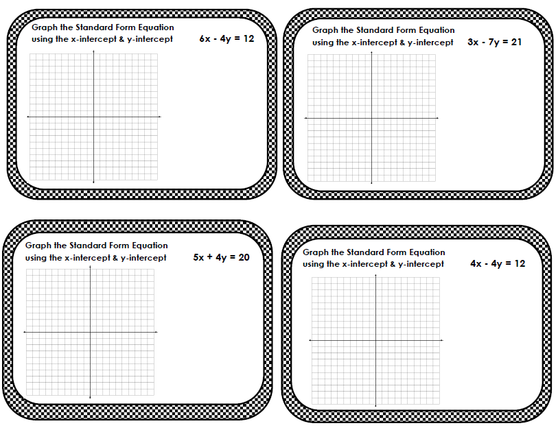 ... Equations Standard Form Graphing Intercepts Task Cards Exit Tickets