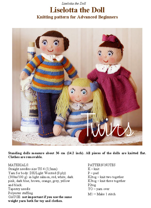 Twins Knitting Pattern Minishop Liselotta The Knitted Doll