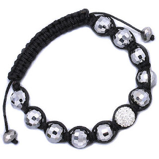 Tibetan Pave Crystal Disco Ball Faceted Bead Adjustable Friendship Bracelet