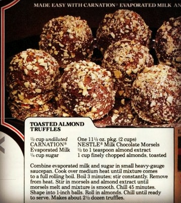 Dying for Chocolate: Toasted Almond Truffles: Retro Ad & Recipe