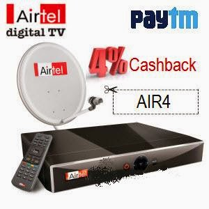 Paytm: Buy Airtel DTH Recharge 4% Cashback on 6 Month Plan, 6% Cashback on 12 Month Plan Recharge