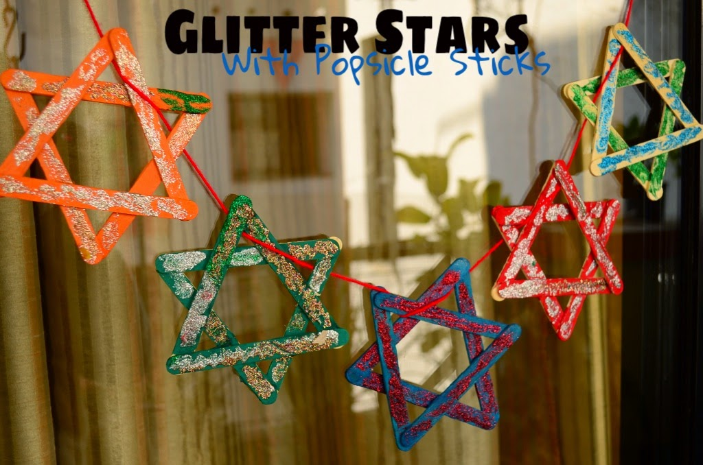 Kids Christmas Craft Glitter Stars With Popsicle Sticks
