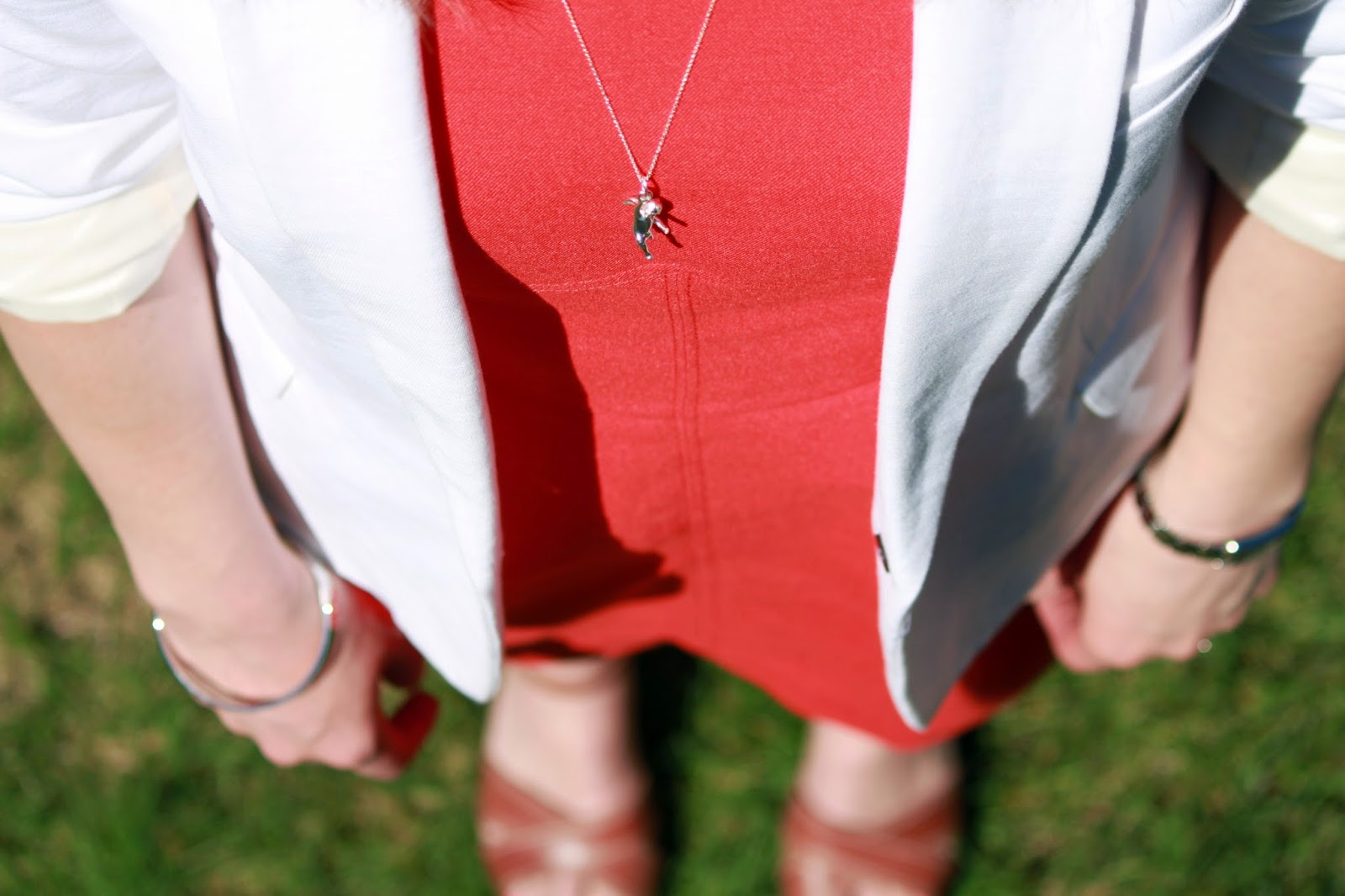 White Blazer + Poppy Dress + Cognac Wedges // The Salty Hanger