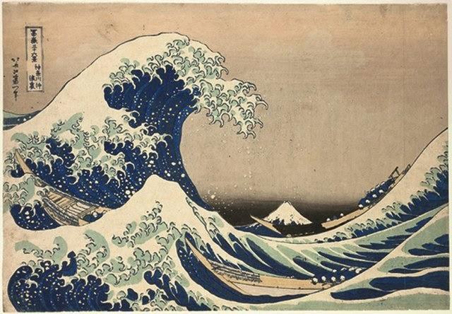 Katsushika Hokusai (1760 -1849) « Dans le creux d'une vague au large de Kanagawa » Série : Trente-six vues du mont Fuji Fugaku Sanjūrokkei Kanagawa oki namiura Début de l'ère Tempō (vers 1830-1834) Estampe nishiki-e, format ōban 25,6 × 37,2 cm Signature : Hokusai aratame Iitsu hitsu Éditeur : Nishimura-ya Yohachi Bruxelles, Musées royaux d'Art et d'Histoire © Musées royaux d'Art et d'Histoire, Bruxelles