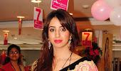 Sparkling hot Sanjana at neerus 7th anniversary in pink saree