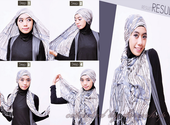 Contoh Tutorial Hijab Modern Menutup Dada