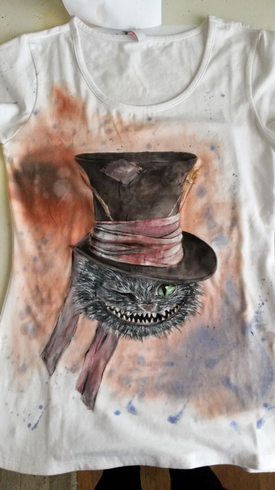 Wiecznie Bazgrająca Kot Z Alicji W Krainie Czarów Ręcznie Malowany