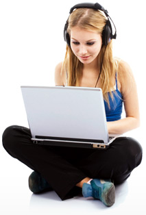 girl with laptop picture