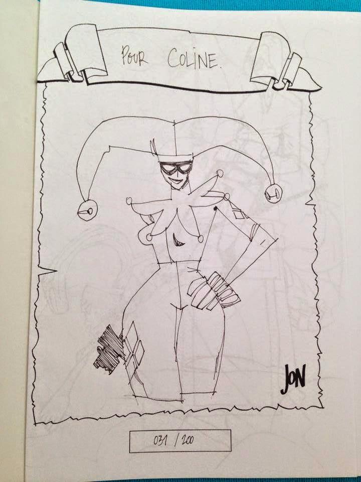 jonathan jon lankry 2D artist animation comic book animated sketchbook 2014 dedicace harley quinn harleen quinzell dc comics arkham gotham villain joker
