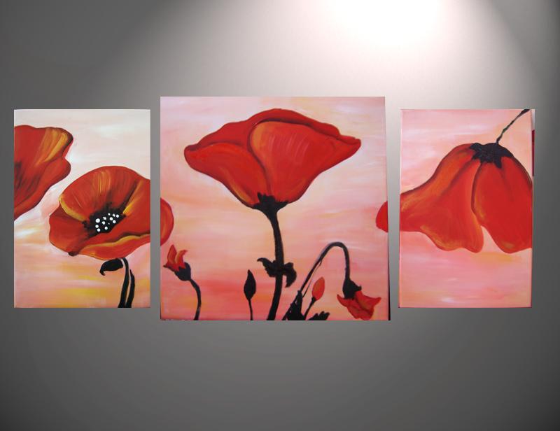 Cuadros Abstractos Tripticos Dipticos Flores Modernas Oleos Cuadros