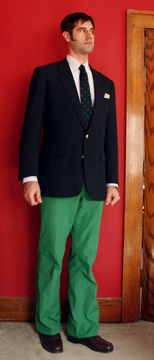 Green pants and navy