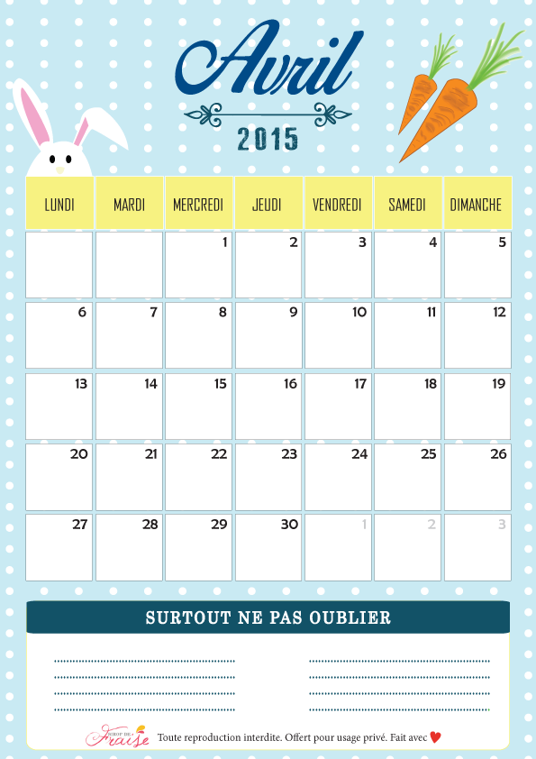 calendrier diy avril 2015 free printable