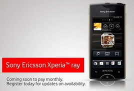 Sony Ericsson Xperia Ray for Vodafone UK coming soon